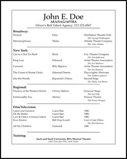 Sample Acting Resume Prfoessional Acting Resume  Resume Templates  Pinterest