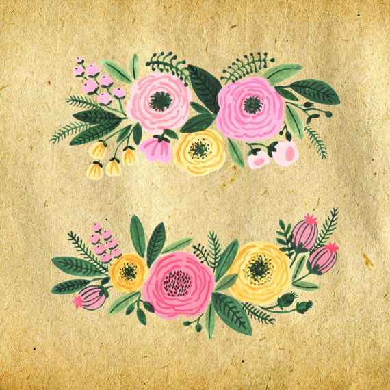 Watercolor Floral Clipart Watercolor Flowers Floral by easyprintPD