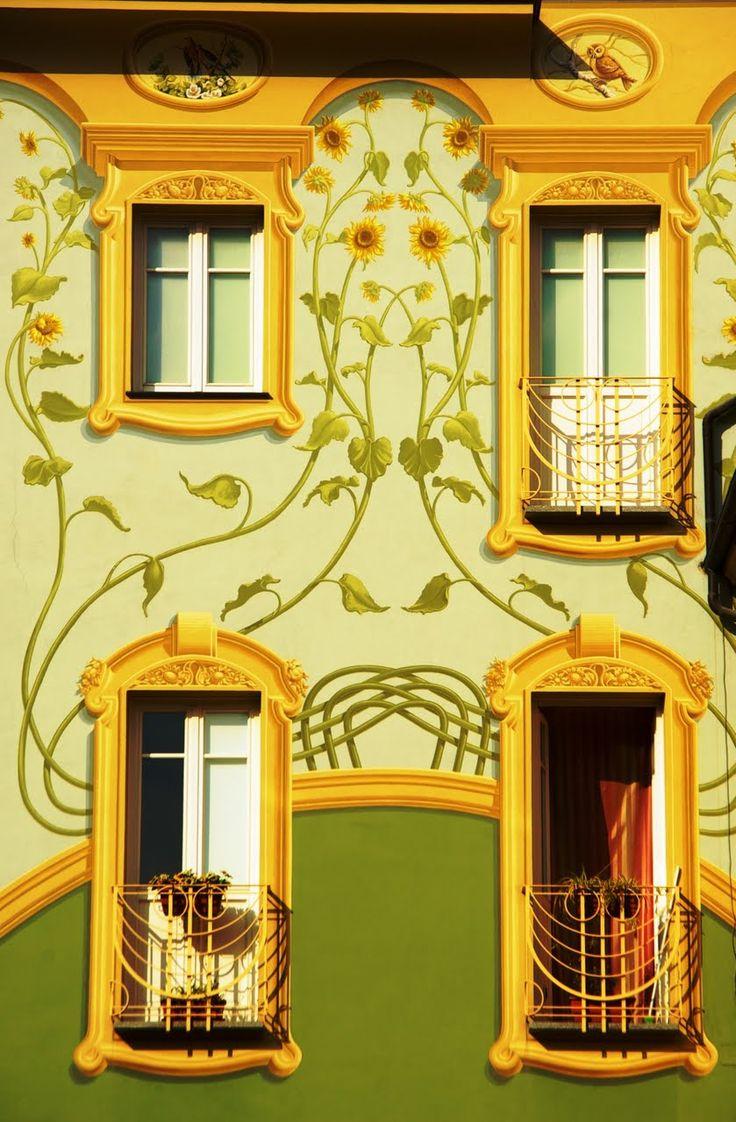 Art nouveau a Loano, Savona, Liguria. Art nouveau painted facade