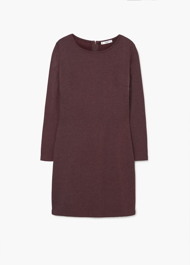 Katoenen jurk | MANGO cotton dress longsleeve dark red wine red burgundy