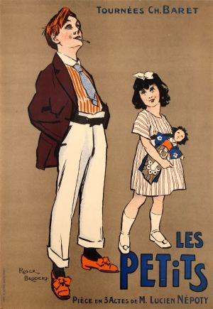 Les Petits Roger Broders, 1912 - original antique advertising poster by Roger Broders for Les Petits Tournees Ch. Baret / The Little Ones Charles Baret Tour a French theatre play in 3 acts by M. Lucien Nepoty listed on AntikBar.co.uk