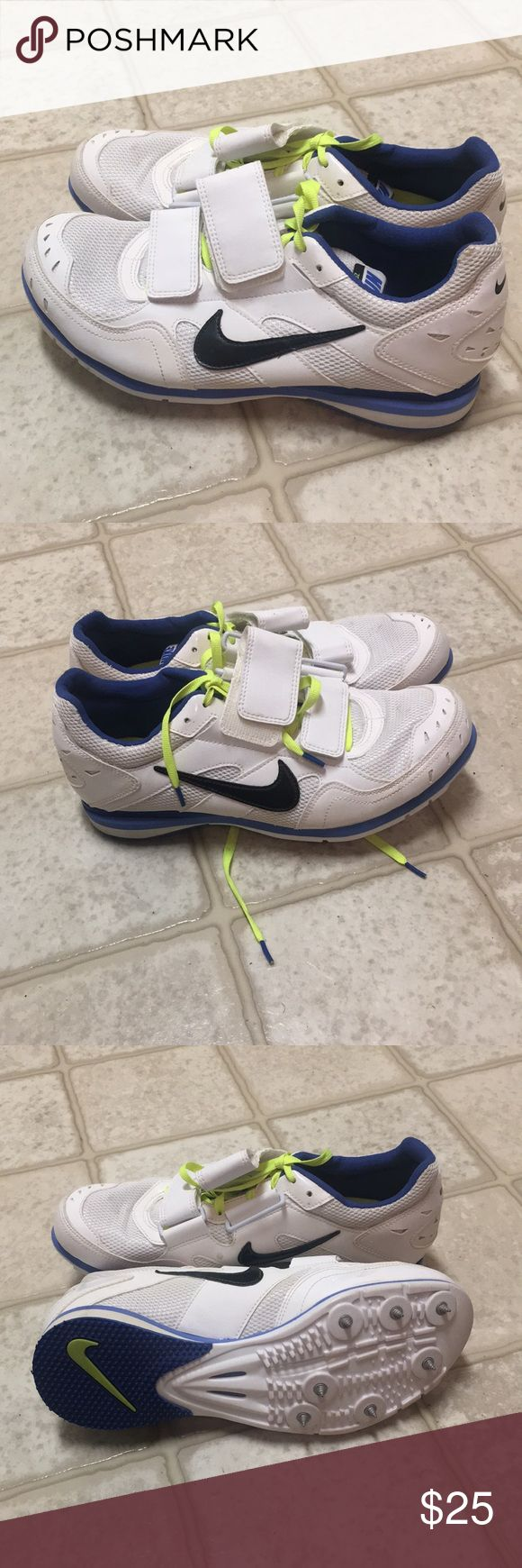 Nike triple jump spikes Used one season Men's size 7 Women's size 8.5 Nike spike bag included Nike Shoes Athletic Shoes