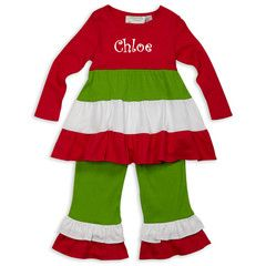 Check out this Red White Green Tiered Long Sleeve Cotton Pant Set for $29 or find your favorite gifts at Lolly Wolly Doodle. Click on the link to receive three dollars off your next order!