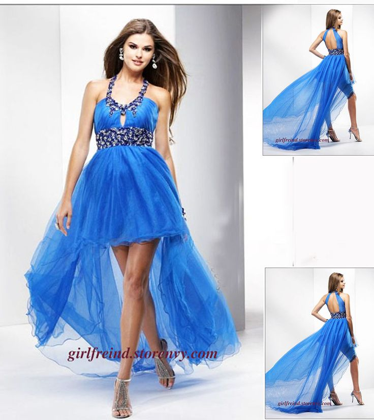 Elegant chiffon halter beading high-low dress #coniefox #2016prom