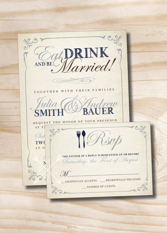 EAT DRINK and Be Married Rustic Wedding Invitation and Response Card