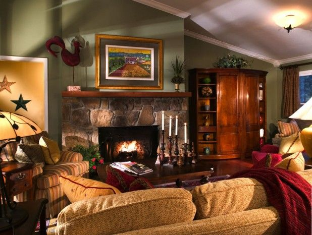 Rustic Red Living Room Design Inspiration