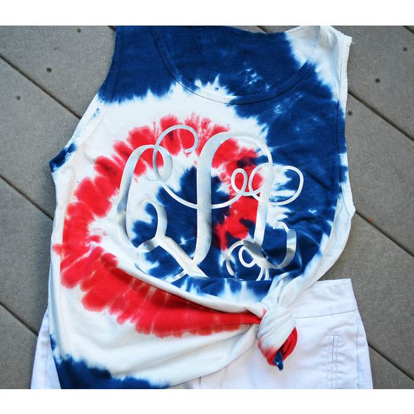 Tye Dye Patriotic Tank Top Tie Dye Tank Monogram Tank Top Monogram Tie... ($14) ❤ liked on Polyvore featuring tops, grey, tanks, women's clothing, monogram shirts, tie shirt, tie dyed shirts, tie-dye crop tops and tie-dye shirts