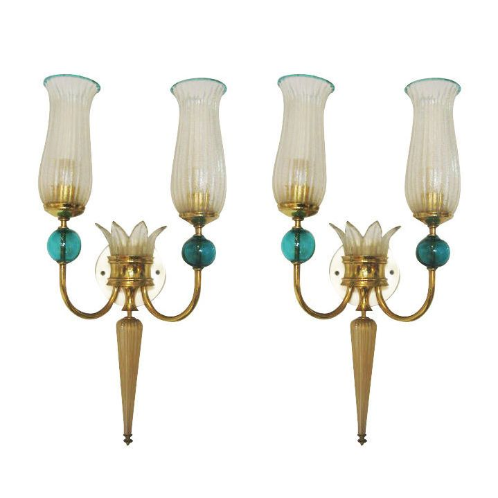 Pair of murano glass sconces by andre arbus for veronese antyki pair of murano glass sconces by andre arbus for veronese mozeypictures Images