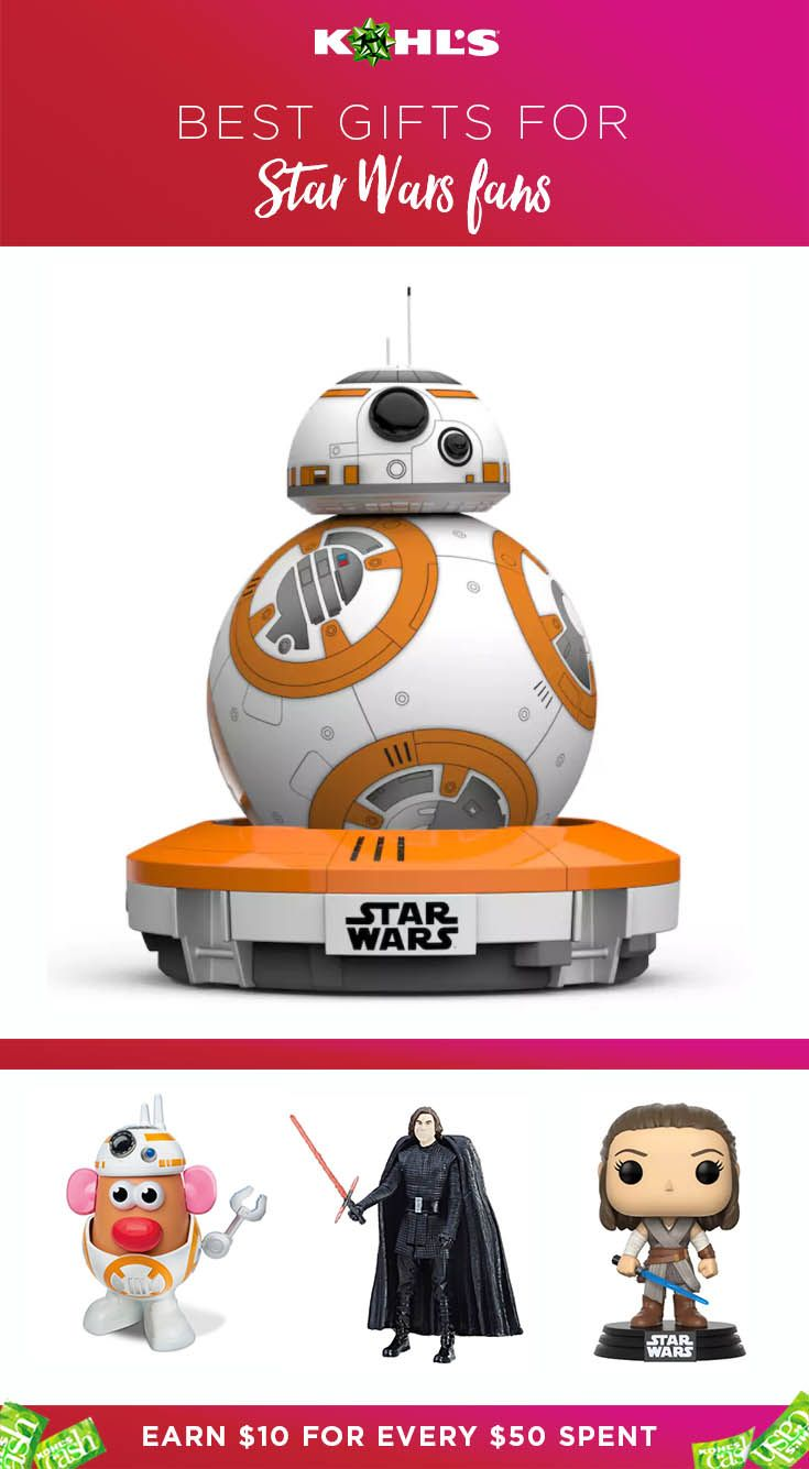 You'll find the best gifts for Star Wars fans at Kohl's. Plus, you'll earn Kohl's Cash on them. Get a BB-8 App-Enabled Droid by Sphero, a Mr. Potato Head BB-8 or figurines. Shop Star Wars holiday gifts at Kohl's.