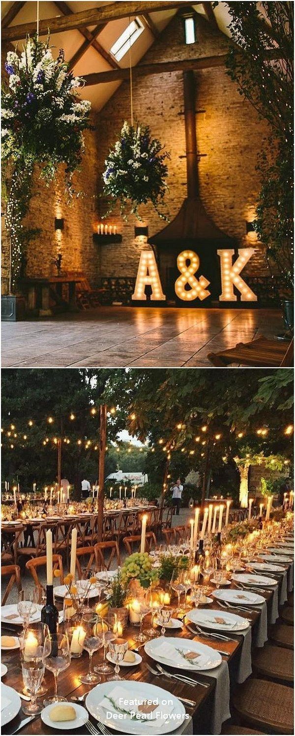 Inside wedding decoration ideas  Rustikale Landhochzeit Lighting Ideas Hochzeiten Hochzeitsideen
