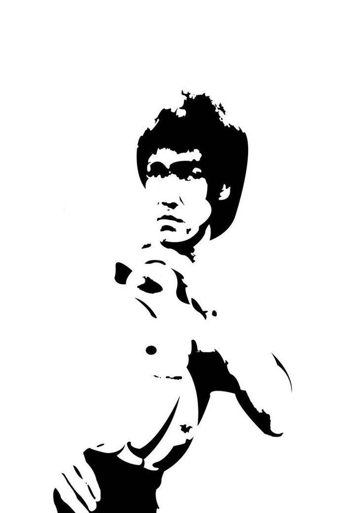 Black and white vector image of Bruce Lee in photoshop ...