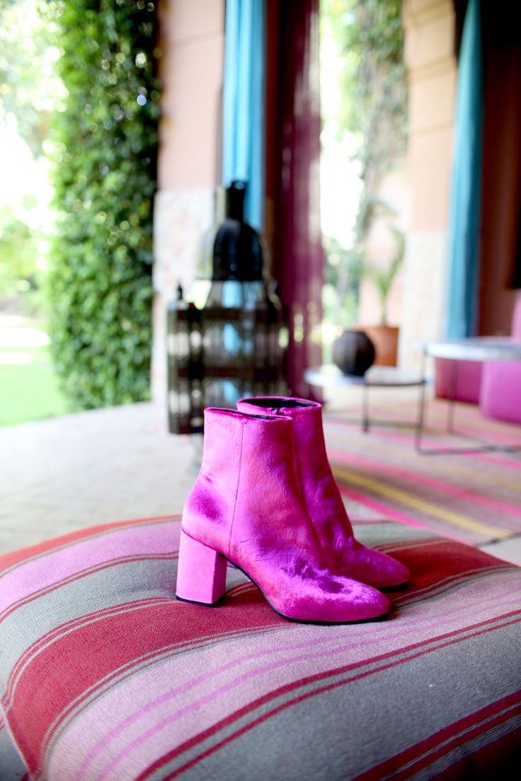 Stand out in style in these pink velvet Balenciaga boots.