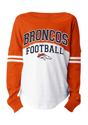 Denver Broncos Girls White Varsity Long Sleeve T-shirt