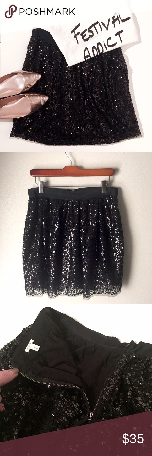 """J. Crew Sequin Mini Skirt Excellent condition! Only worn a couple times then dry cleaned. This skirt is super sexy and fun but also comfortable! It is lined inside with modal cotton which is very soft. It's very flowy, not tight or form fitting. The waistband is fitted though, not stretchy. Wear this skirt with t shirts in the summer when going out at night, or pair with tights and boots for fall! 17"""" long from top of waistline to bottom of hem. J. Crew Skirts Mini"""