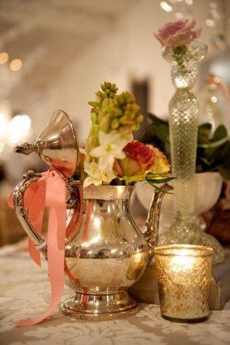 """Grannies Floral Silver Teapot"" Vintage Wedding Decor Tips  | Confetti Daydreams ♥  ♥  ♥ LIKE US ON FB: www.facebook.com/confettidaydreams  ♥  ♥  ♥ #Wedding #VintageDecor #VintageWedding"