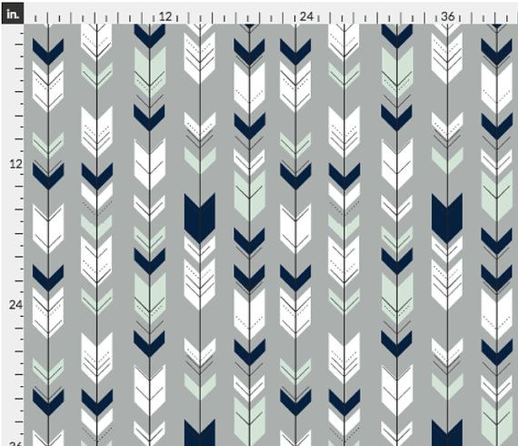 Fletching Arrow / Northern Lights - Grey Custom Fabric designed by Little Arrow Designs. Printed on Organic Cotton Knit, Linen Cotton Canvas, Organic Cotton Sateen, Kona Cotton, Basic Cotton Ultra, or Cotton Poplin fabric. Available in yards and quarter yards (fat quarter). This fabric is digitally printed on demand as orders are placed. Unlike conventional textile manufacturing, very little waste of fabric, ink, water or electricity is used. We print using eco-friendly, water-based inks on…