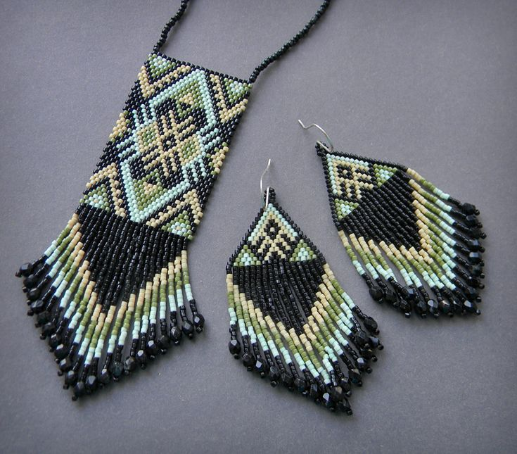 Rectangular peyote fringed pendant and fringed triangle brick stitch earrings