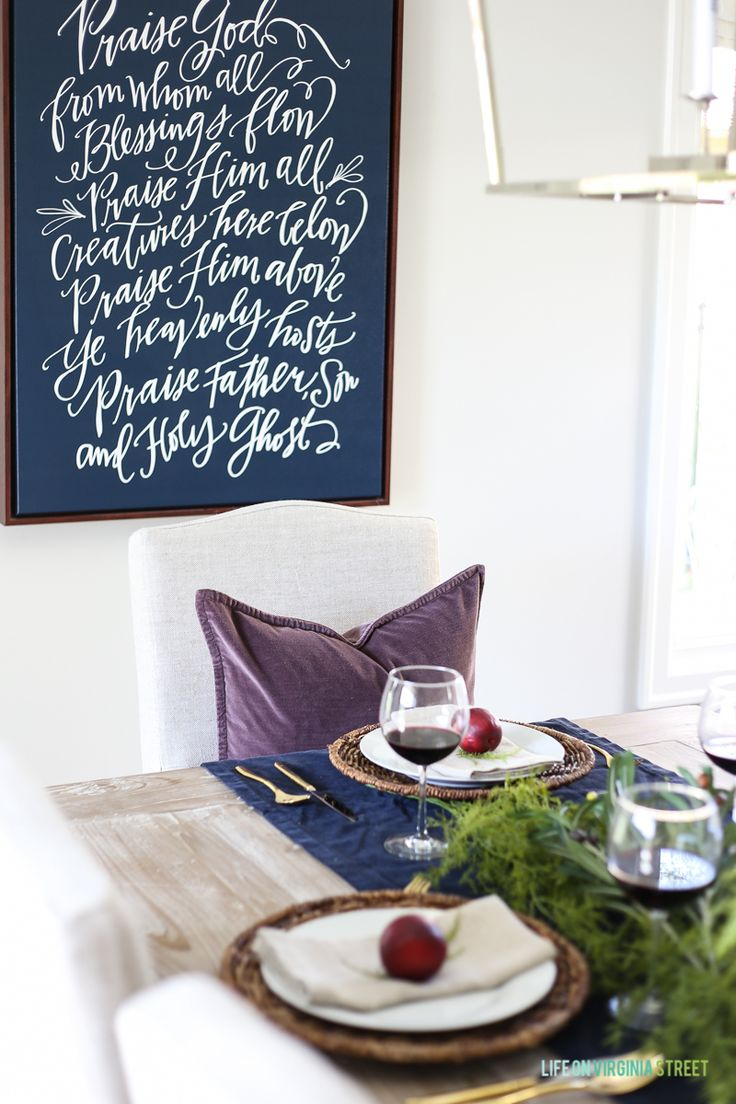Looking for Thanksgiving table ideas? Come see my Olive, Plum & Artichoke Thanksgiving Tablescape - Life On Virginia Street #homedecorideas #thanksgivingdecor #diningroom #holidaystyle