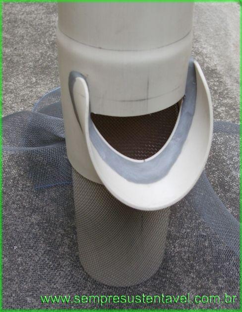 Como fazer filtro auto limpante    Calha  Água da chuva