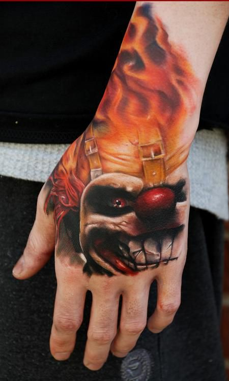 Sweet tooth Tattoo by Ryan Cotterman - clown flames