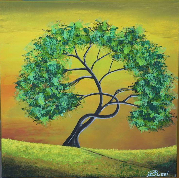 """Abstrakte Acrylmalerei 40x40cm Gemälde Unikat """" Grüner Baum in der Landschaft"""" von BUZZIART auf Etsy"""