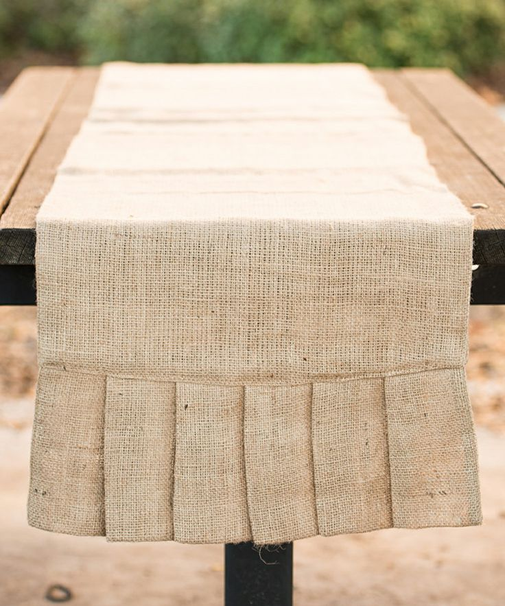 Pleated Burlap Table Runner