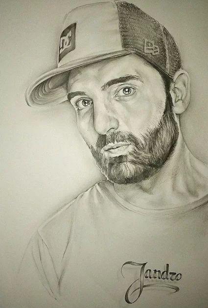 Dibujo de hombre joven con barba y gorra