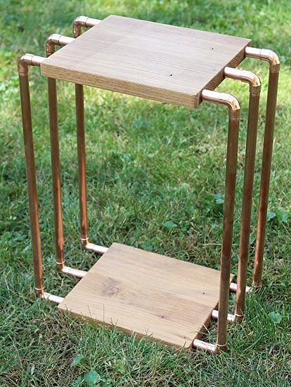 """White Oak & Copper Pipe Side Table with Shelf by Paul Segedin & Urban Prairie Design.  Table measures 20""""h x 15""""w x 9""""d and is made from commercial-grade copper pipe and from locally-harvested white oak."""