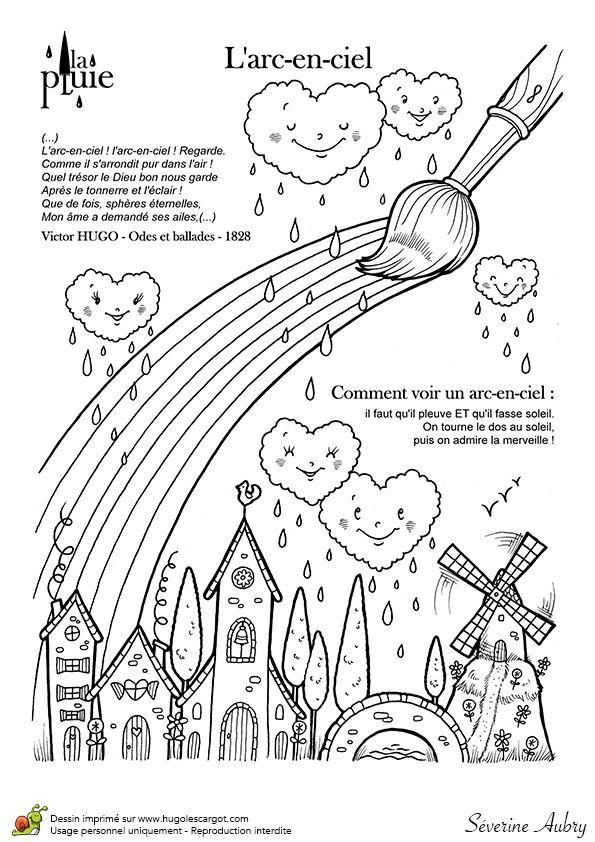 Dessin à colorier de la pluie et de son arc en ciel - Hugolescargot.com