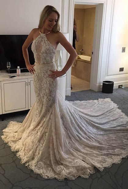Lace Wedding Dress with Golden Details