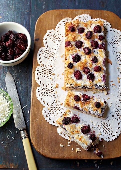 Gluten-free coconut & blackberry slice | Serve alongside a cup of tea for an afternoon pick-me-up