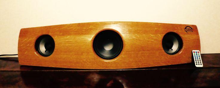 Boomtastic, big bass Bluetooth speaker system made from wine barrels