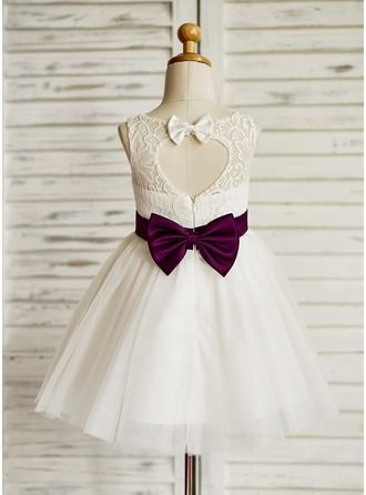 A-Line/Princess Jewel Knee-length Sash Bow(s) Back Hole Tulle Lace Sleeveless Flower Girl Dress Flower Girl Dress