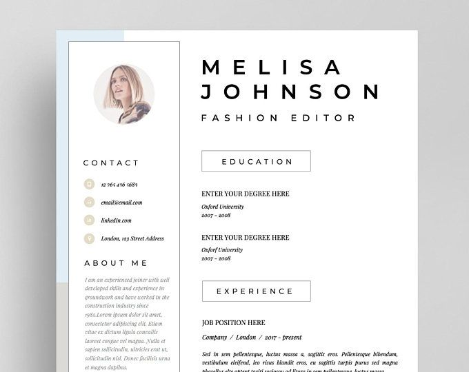 Resume Template Cv Template Resume Cv Design Teacher Resume Curriculum Vitae Cv Instant Download Resume Resume Templates Cv Cv Template Resume Template Resume Templates