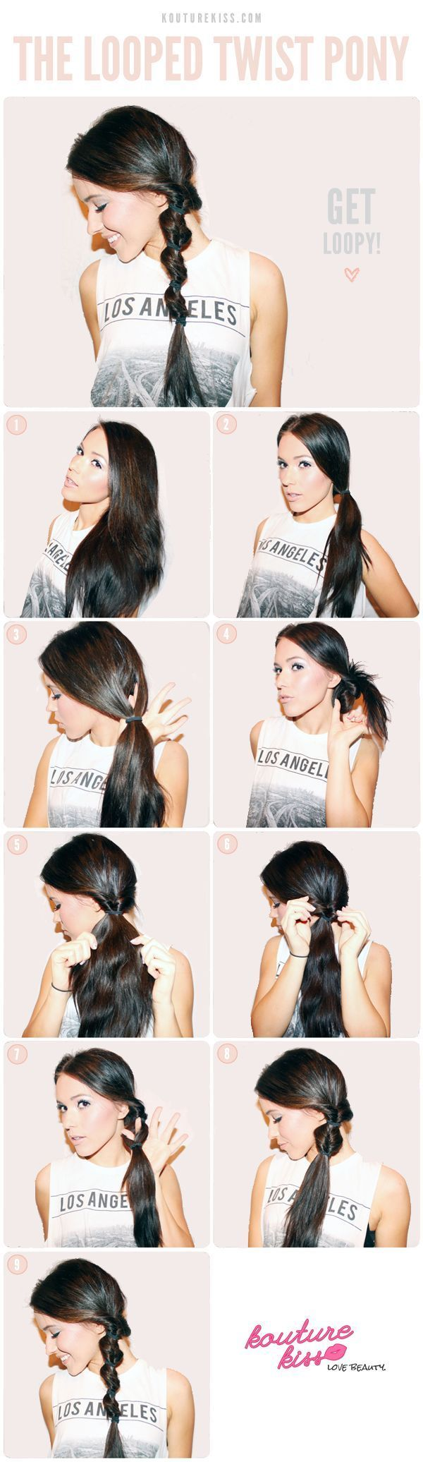 Looped twist pony-Cute and Easy Hairstyle Tutorial