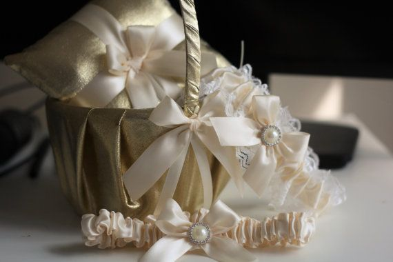 Gold Wedding Bearer Pillow + Flower Girl Basket + 2 Bridal Garters Set \ Gold Ivory Wedding Basket + Ring Pillow, Ivory Lace Wedding Garters