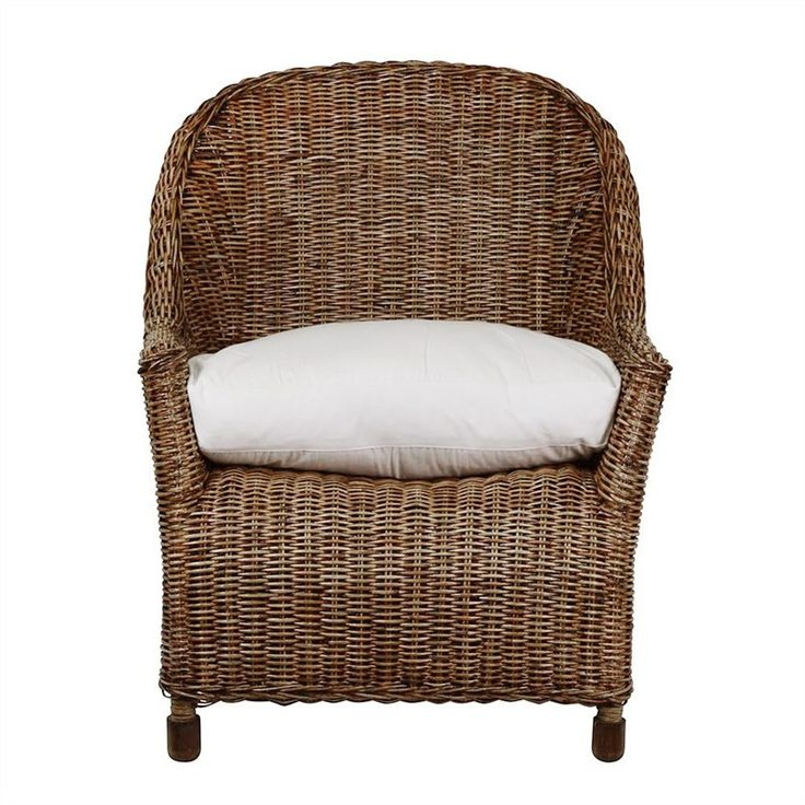 Savannah Rattan Single Seater Sofa with Feather Cushion, Tobacco