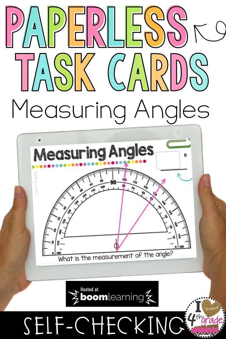 Measuring Angles | Angles on a Protractor | Angles Math Centers | 4th grade math centers | 4th grade geometry | Angles Geometry | Boom Cards for 4th Grade |  This set of digital self checking task cards will help students practice measuring angles on a protractor. Aligned to 4th grade standards. ($)