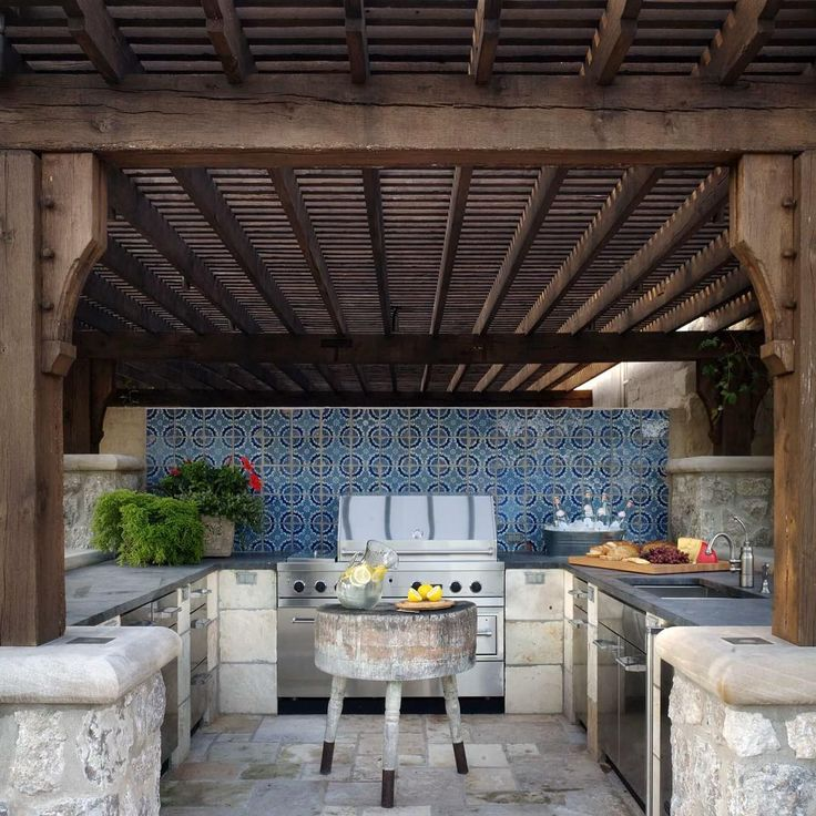 203 best images about home outdoor living kitchens on for Garden braai designs