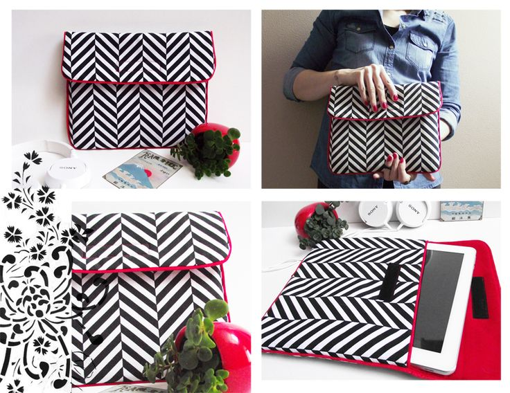 Pochette pour tablette, chevron noir et blanc et passepoil rouge, sans couture apparente.