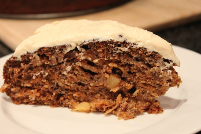 Carrot Cake - healthy version without butter, refined sugar or oil! Full of apple sauce, carrots, pineapple, nuts and seeds! And of course, the delicious cream cheese  icing