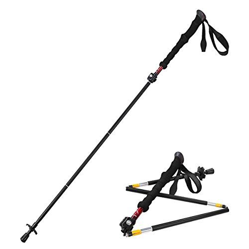 Himal 1 PCS Folding Collapsible Travel Hiking Walking Stick Trekking Pole with EVA Foam Handle (Black-Red). For product info go to:  https://all4hiking.com/products/himal-1-pcs-folding-collapsible-travel-hiking-walking-stick-trekking-pole-with-eva-foam-handle-black-red/
