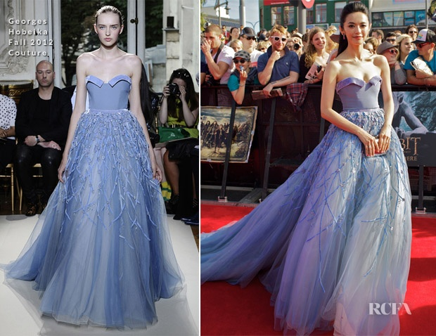 Yao Chen Wearing Georges Hobeika At The Hobbit Premiere
