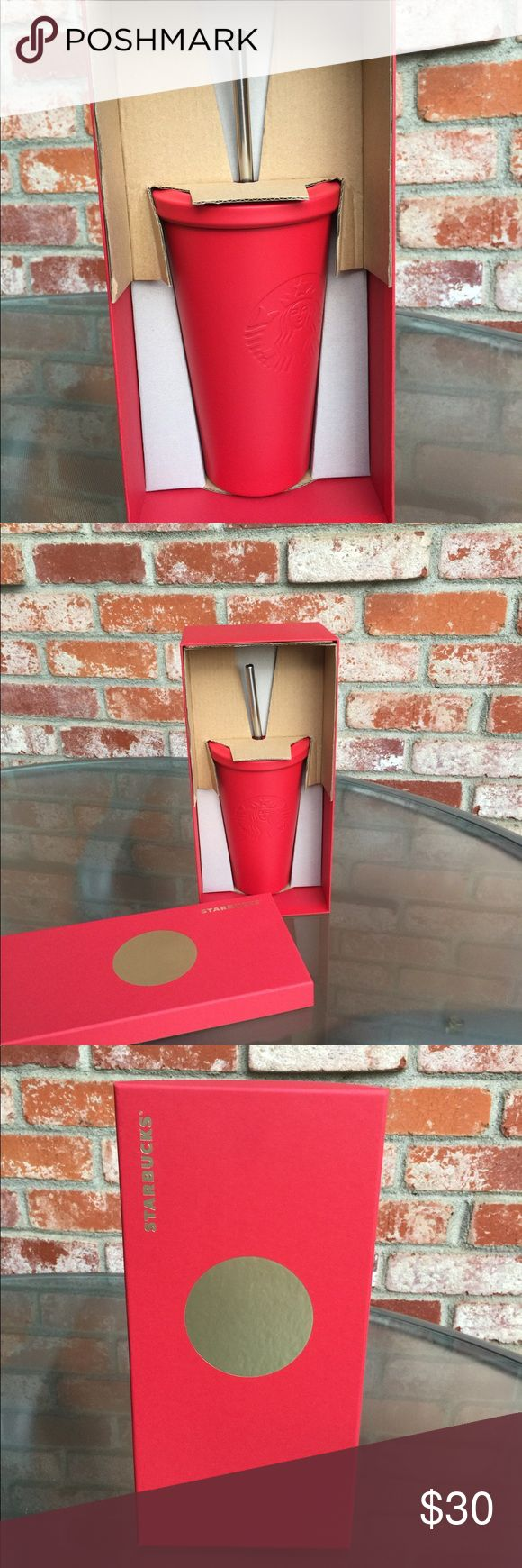 ⚡️FLASH SALE⚡️Starbucks Red cold cup New in box Starbucks Cold Cup. This is a nice red Matte color. This cup is brand new never been use. I believe it is a double walls stainless steel cup. Keep cold drink stay cold for many hours. I like this cup so much that I bought over 20 cups and gave to my friends and family last year. Love it😍 Starbucks Other