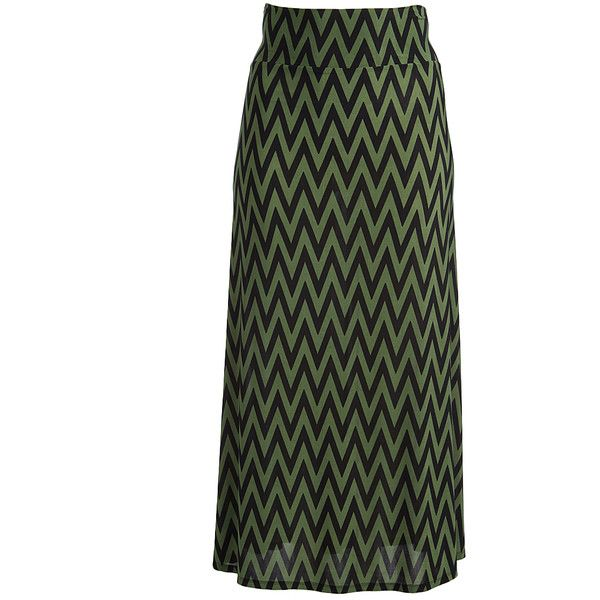 GLAM Green & Black Zig-Zag Maxi Skirt (445 MXN) ❤ liked on Polyvore featuring skirts, plus size, long skirts, fold over maxi skirt, women's plus size maxi skirts, foldover maxi skirts and plus size long skirts