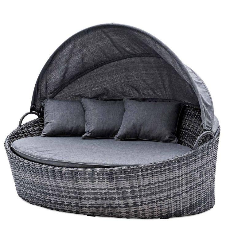 Ovaal tuin lounge ligbed / lounge tuinbank - grijze kussens