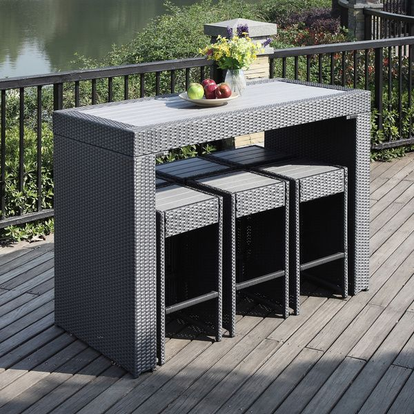 Portfolio Aldrich Grey Indoor/Outdoor Resin Wicker Barstool/ Table Set    Overstock™ Shopping   Big Discounts On PORTFOLIO Dining Sets Part 43