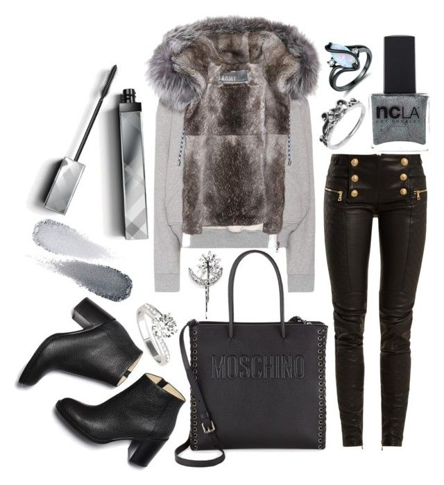 """""""outfit"""" by kwharmony on Polyvore featuring Balmain, Peermont, Army by Yves Solomon, Moschino, Burberry, ncLA, Clé de Peau Beauté and Jennifer Behr"""