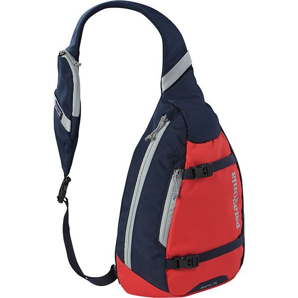 Patagonia Atom Sling Sling (74 NZD) ❤ liked on Polyvore featuring bags, backpacks, red, slings, padded backpack, mesh sling backpack, mesh backpack, one strap backpack and messenger bag