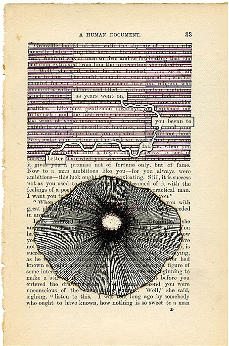 Tom Phillips' A Humument - A Humument is a sustained manipulation and restructuring of W.H. Mallock's forgotten Victorian novel A Human Document. Working directly on original pages, Tom Phillips eliminates sections of text to reveal residual and previously hidden syntagms.